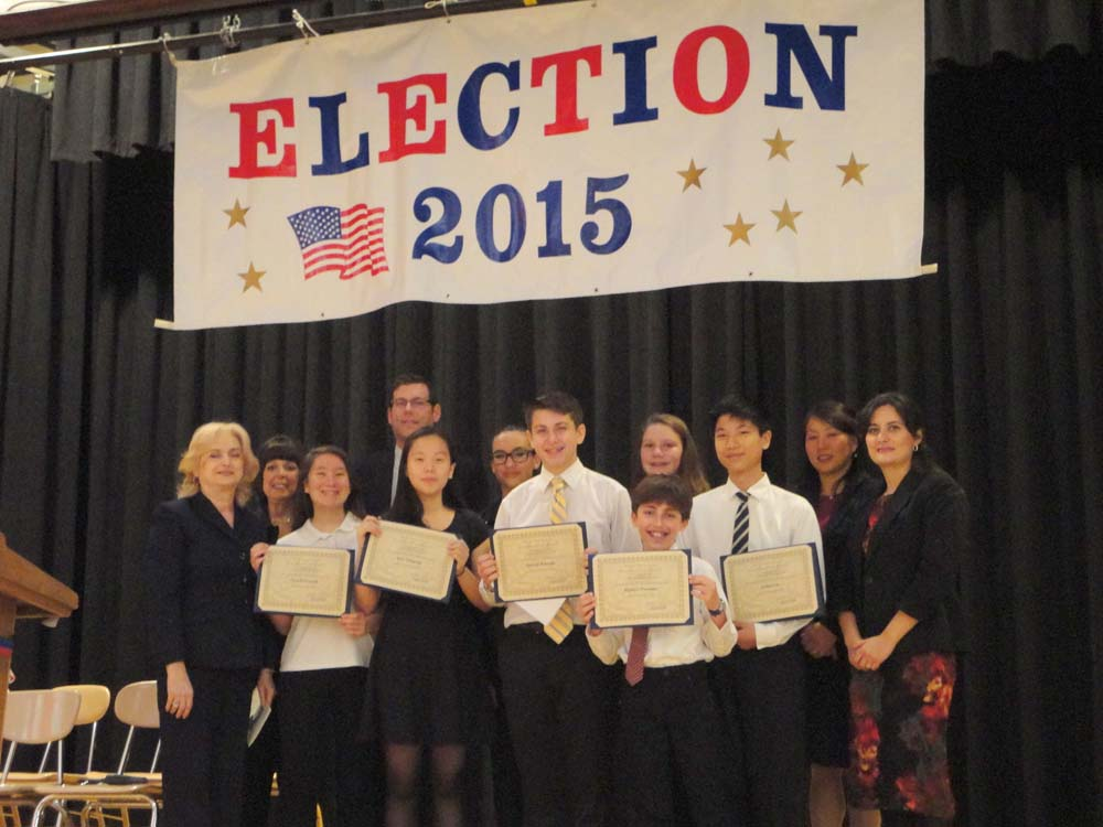 On November 19, 2015, Assemblyman Braunstein installed the Student Organization at Louis Pasteur Middle School 67. Assemblyman Braunstein is pictured with Principal Zoi P. McGrath, Assistant Principal and Student Organization Advisor Barbara Choit, and PTA Co-Presidents Dina Katz and Megan Rha, and the SO Officers.