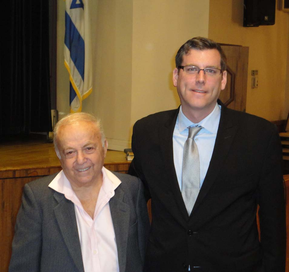 On March 24, 2016, Assemblyman Braunstein was the guest speaker at the Holocaust Survivors - Queens Chapter meeting. Assemblyman Braunstein is pictured with Whitestone resident Jehuda Evron.