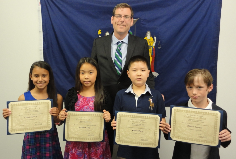 On June 3, 2016, Assemblyman Braunstein met with the winners of his Mother's Day Essay Contest. Assemblyman Braunstein is pictured with Celeste Marrero, 5th Grade Grand Prize Winner; Isabella Chang, 3rd Grade Grand Prize Winner; Andrew Wang, 2nd Grade Grand Prize Winner; and William Lucente, 4th Grade Grand Prize Winner.