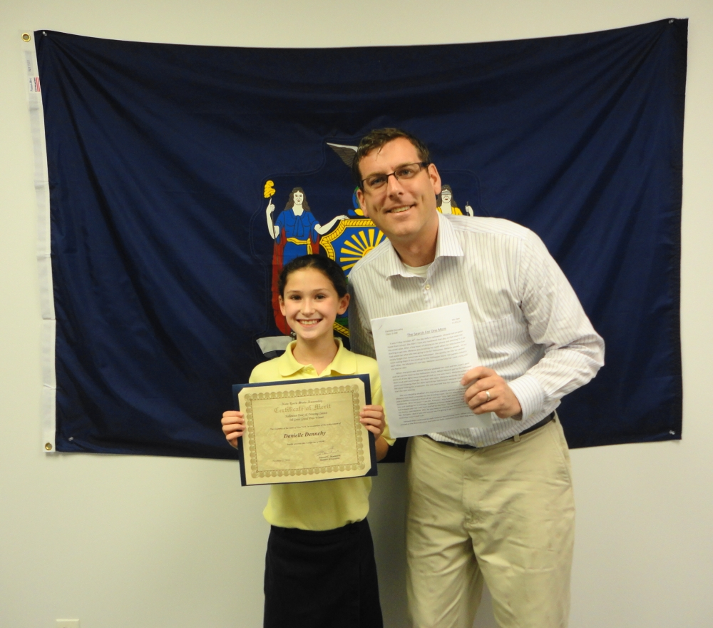 On November 29, 2016, Assemblyman Braunstein met with the 5th Grade Grand Prize Winner of his Halloween Essay and Drawing Contest, Danielle Dennehy of Our Lady of the Blessed Sacrament School.<br />