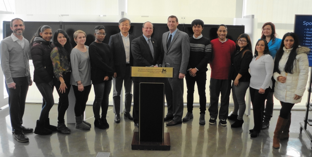 On December 9, 2016, Assemblyman Braunstein provided citations to the Queensborough Community College Kupferberg Holocaust Center Fall 2016 Fellows with Council Member Barry Grodenchik.<br />