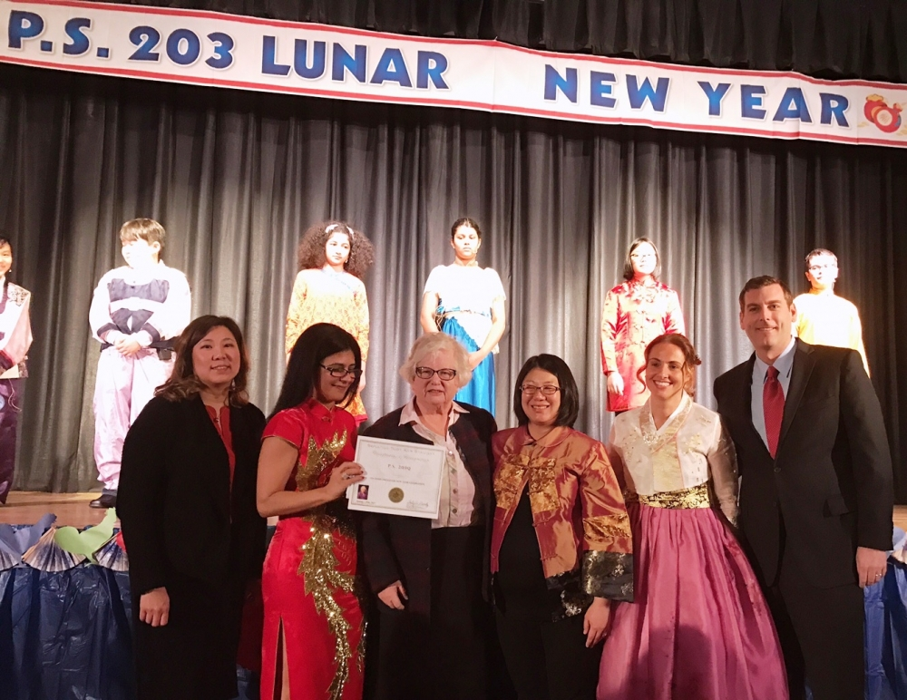 On January 25, 2017, Assemblyman Braunstein joined PS 203: The Oakland Gardens School to celebrate Lunar New Year with Congresswoman Grace Meng and Senator Toby Ann Stavisky.<br />