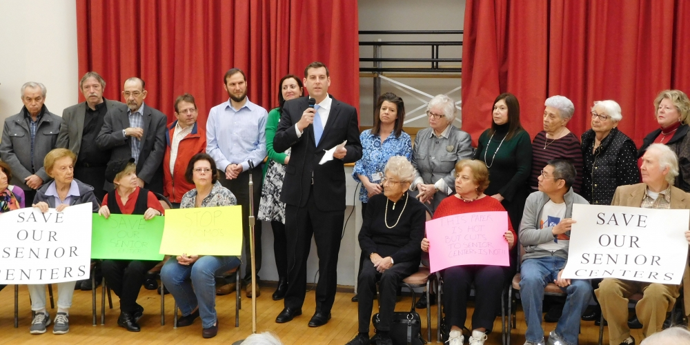 Assemblyman Braunstein, Senator Toby Ann Stavisky, & Assemblywoman Nily Rozic held a rally with seniors and civic leaders at Selfhelp Clearview Senior Center on February 23, 2017 against Governor Cuomo's proposed cuts to senior centers in New York City.<br />
