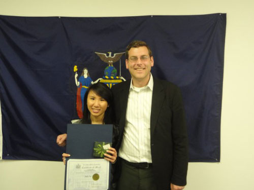 Assemblyman Braunstein with 2nd Place Winner Julia Lu.