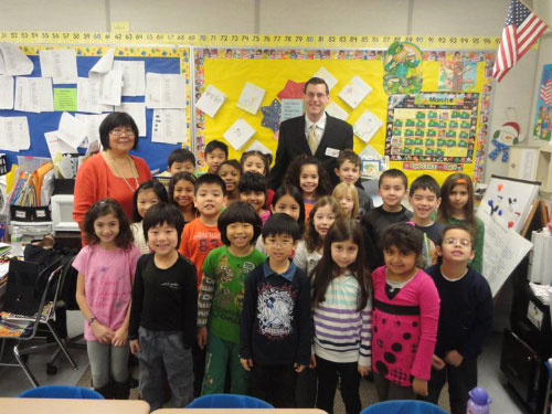 Assemblyman Braunstein with 2nd grade students at PS 41.