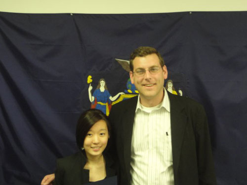 Assemblyman Braunstein with 3rd Place Winner Ha Bin Cho.