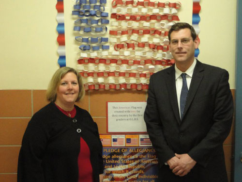 Assemblyman Braunstein with Principal Joan Kane of Our Lady of the Blessed Sacrament School at the Earn N Burn Fundraiser.