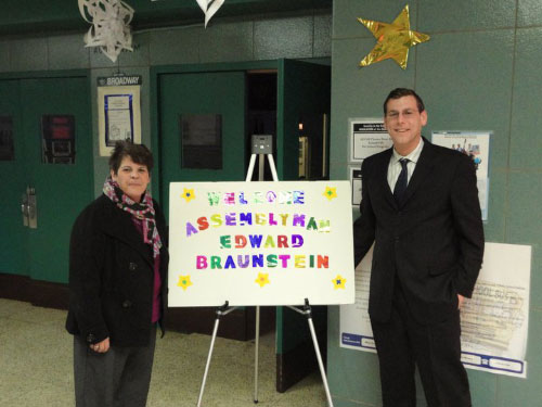 Assemblyman Edward C. Braunstein at PS 209 in Whitestone with Principal Mary E. McDonnell. Assemblyman Braunstein and Principal McDonnell discussed budget issues and the need for an additional crossing guard at PS 209 in order to ensure the safety of the students.