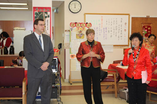 Assemblyman Edward Braunstein at the Parker Jewish  Institute for Health Care and Rehabilitation Lunar New Year party.