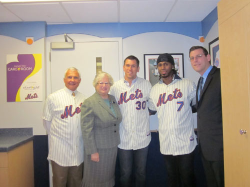 Assemblyman Edward Braunstein and Senator Toby Stavisky at the Starlight Care Room ribbon-cutting ceremony at New York Hospital Queens along with members of the New York Mets organization. From right to left: NYS Assemblyman Braunstein, NY Met Jose Reyes, NY Met Josh Thole, NYS Senator Toby Stavisky, NY Mets Manager Terry Collins.