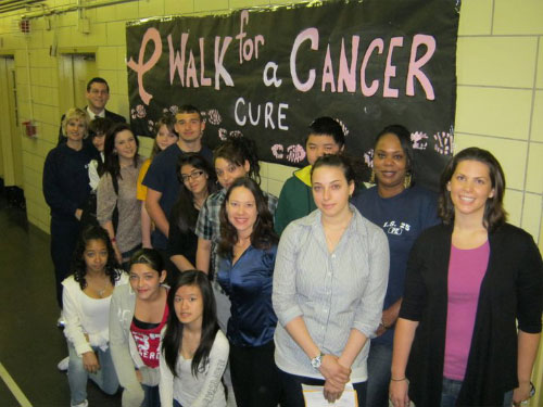 Assemblyman Braunstein, Principal Mary Ellen Beirne, Parent Coordinator Jacquelyn Trotter, with students and staff participants at the IS 25: Adrien Block School Walk for a Cancer Cure Walkathon on Friday, April 15, 2011.