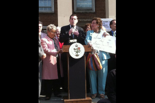 "Assemblyman Braunstein at Queens Borough President Helen Marshall's ""Rally To Save Our Senior Centers,"" where he pledged to fight against the devastating budget cuts to senior centers which would force the closure of Selfhelp Clearview in Bay Terrace."