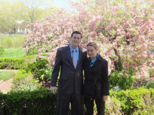 Assemblyman Braunstein with Director of Development of the Queens Botanical Gardens Darcy Hector on Friday, April 29, 2011.