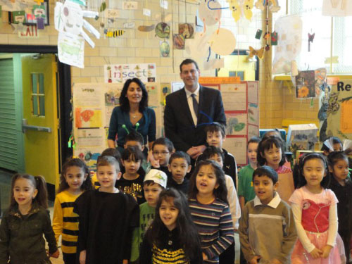 Assemblyman Braunstein with Mrs. Gail Eliassof, Kindergarten teacher at PS 184 with her class during the Kindergarten's Sing and Dance.