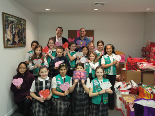 Assemblyman Edward Braunstein and Staff along with Sacred Heart 5th Grade Girl Scout Troop 4863 with their Valentines for Veterans.