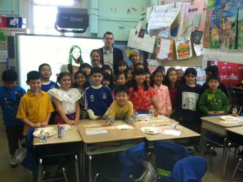 Assemblyman Braunstein at the David Porter School in Little Neck participating in PS 94's International Food Festival. Assemblyman Braunstein is pictured with Student Teacher Lisa Santiago; 2nd Grade teacher Elisa Balzano; Parent Coordinator Peggy Kalesis and 2nd Grade students after tasting all of the wonderful homemade culinary treats from China, Ireland, Italy, Korea and numerous other countries provided by the students and parents at PS 94
