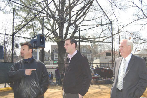 Assemblyman Braunstein with Senator Tony Avella and Jerry Iannece, Chair of Community Board 11, at Bayside Little League's opening ceremonies on April 9, 2011, where Assemblyman Braunstein threw out the First Pitch.