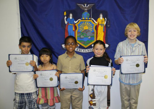 Congratulations to the winners of my Mother's Day Essay & Poetry Contest 2011! The winners were (L-R) Chris Georgiadis of P.S. 209, Grace Liu from P.S. 21, Eric Samson from St. Andrew Avellino School, Savannah Sclafani from Sacred Heart School, and Sean Flynn from St. Mel's School.