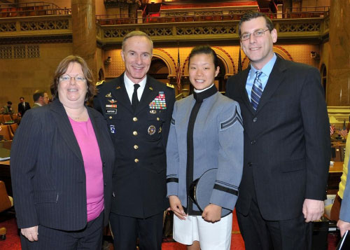 Assemblyman Braunstein along with Assemblywoman Catherine Nolan helped honor Cadet Sally Chang from Fresh Meadows and Lt. General David Huntoon on West Point Day at the New York State Assembly on April 6, 2011.