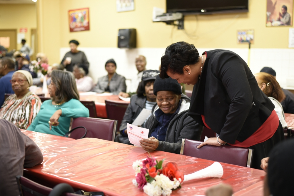 Assemblywoman Hyndman distributes fire alarms at senior center with FDNY<br /><br />