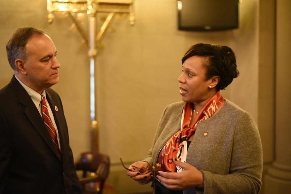 Assemblywoman Hyndman discussing diversity with Queens College President Félix V. Matos Rodríguez<br /><br />