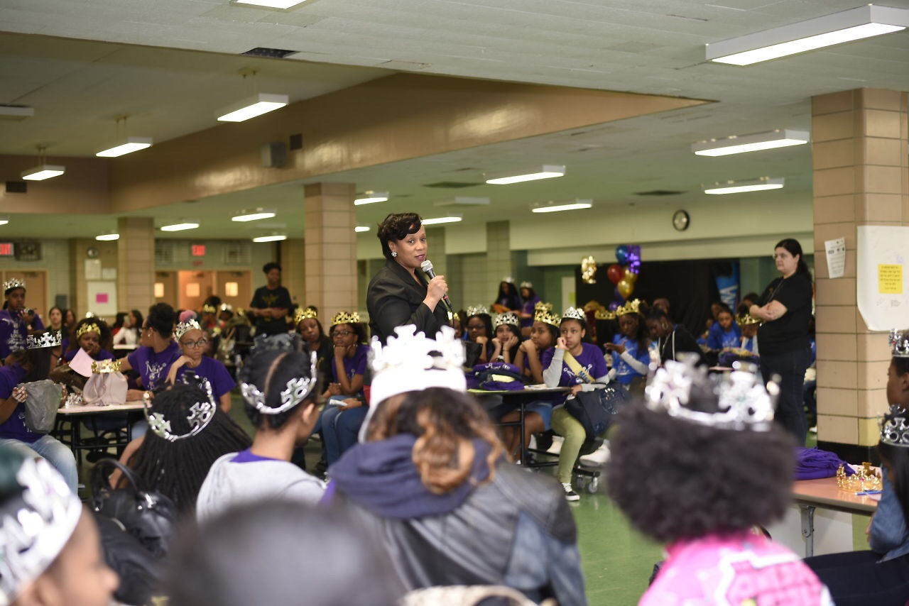 "Assemblywoman Hyndman addressing young women at the ""Royal Within"" Empowerment program.<br />"
