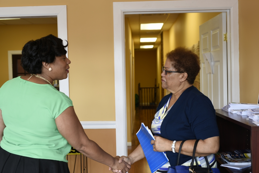 Assemblywoman Hyndman welcomes constituents during her Open House.<br />