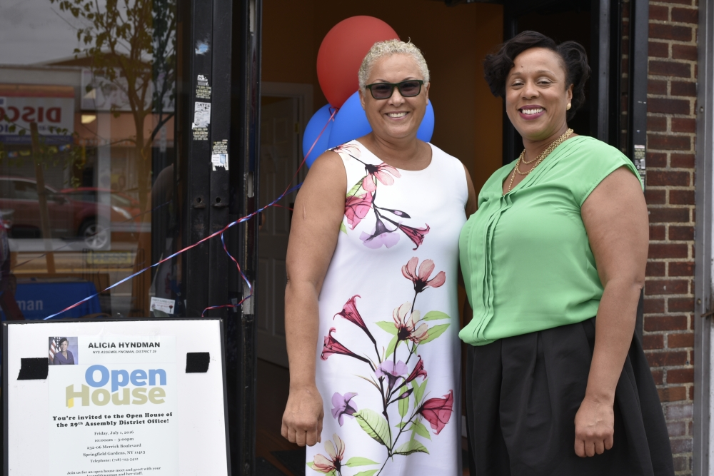 Assemblywoman Hyndman with Ms. Mildred, a local business owner.<br />