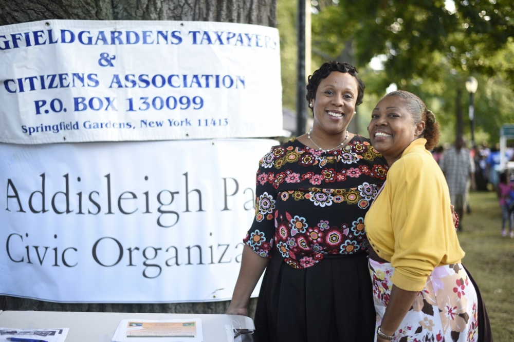 Assemblywoman Hyndman with Addisleigh Park Civic President Andrea Scarborough<br />