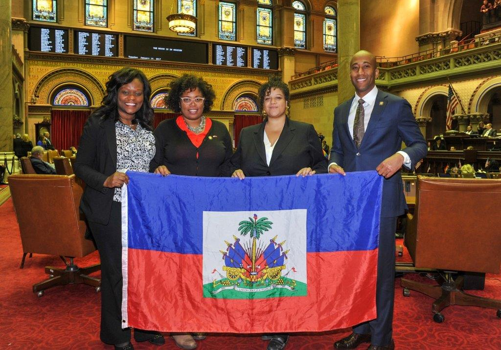 Haitian American Assembly members, Michaelle Solages of the 22nd District, Kimberly Jean-Pierre of the 11th District, Rodneyse Bichotte of the 42nd District and Clyde Vanel of the 33rd District introduce a Resolution recognizing the victims of the devastating Haitian Earthquake in 2010.<br />