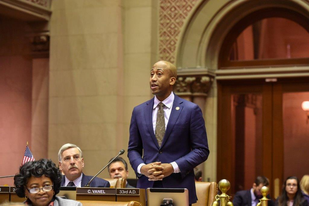 Clyde Vanel speaks in support of the Resolution recognizing the victims of the 2010 earthquake in Haiti. The resolution was introduced by Assembly member Michaelle Solages of the 22nd District and co-sponsored by Kimberly Jean-Pierre of the 11th District, Rodneyse Bichotte of the 42nd District and Clyde Vanel of the 33rd District.<br />
