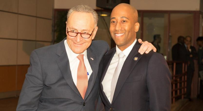 United State Senator Chuck Schumer, left, was one of the main speakers at Assemblyman Clyde Vanel's inauguration to the New York State Assembly.<br />