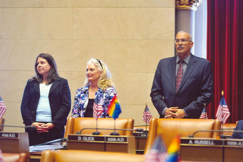 Assemblyman Aubry honors President Christine Fleming of the Be The Match Foundation and Katy Vescio (potential donor) upon occasion of our 20th Anniversary Bowl- A-thon.