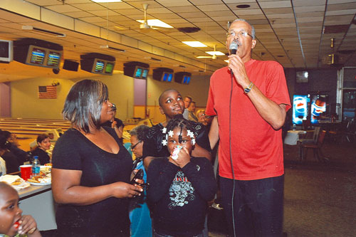 Assemblyman Aubry honors our youngest (donors) Za-Navia Cancer (recipient) and Zacceus Cancer (donor) during our 20th Annual Marrow Bowl-A- Thon 2011.
