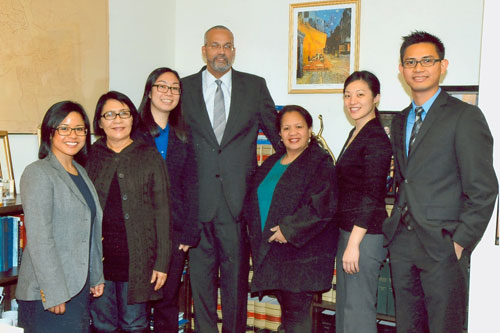 Assemblyman Aubry and representatives of the Coalition for Asian-American Children and Families and Asian-Americans for Equality meet to discuss their legislative agenda for this session.