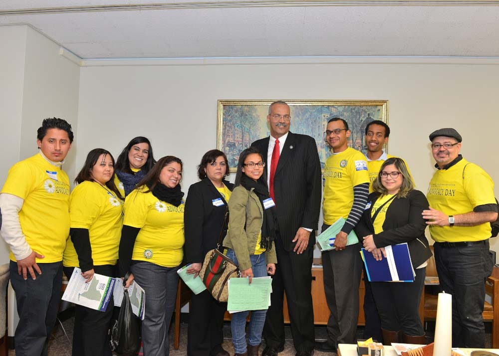 Representatives from the Plaza de Sol Family Health Center in Corona, Queens, visit with Assemblyman Aubry on Lobby Healthcare Day