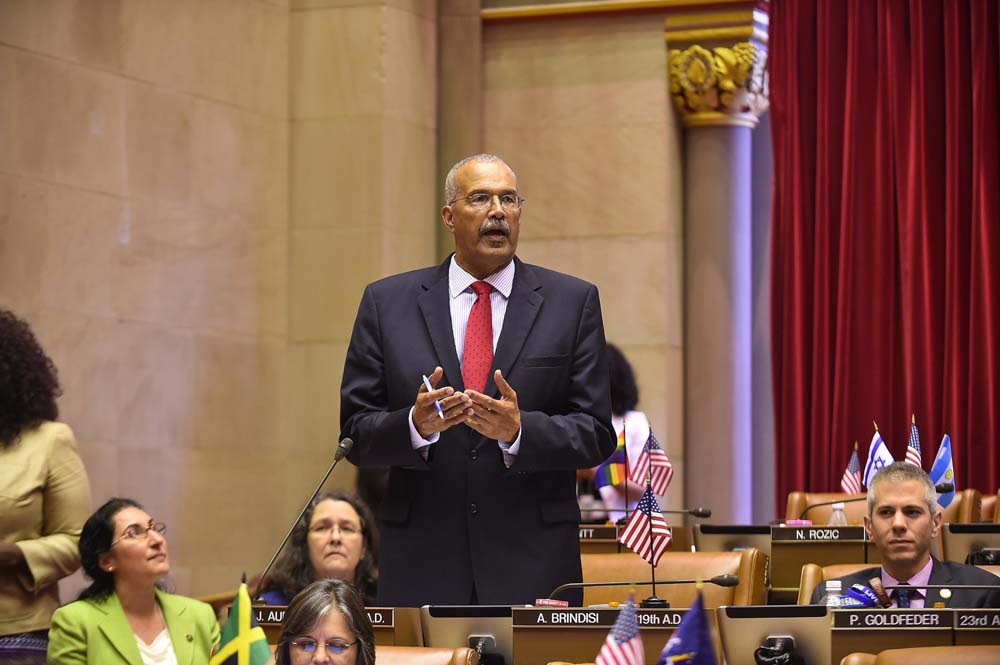 Assemblyman Aubry debating the Ban the Box bill. The bill prohibits employers from inquiring about any criminal convictions from a prospective employee until after making a conditional offer of employment.