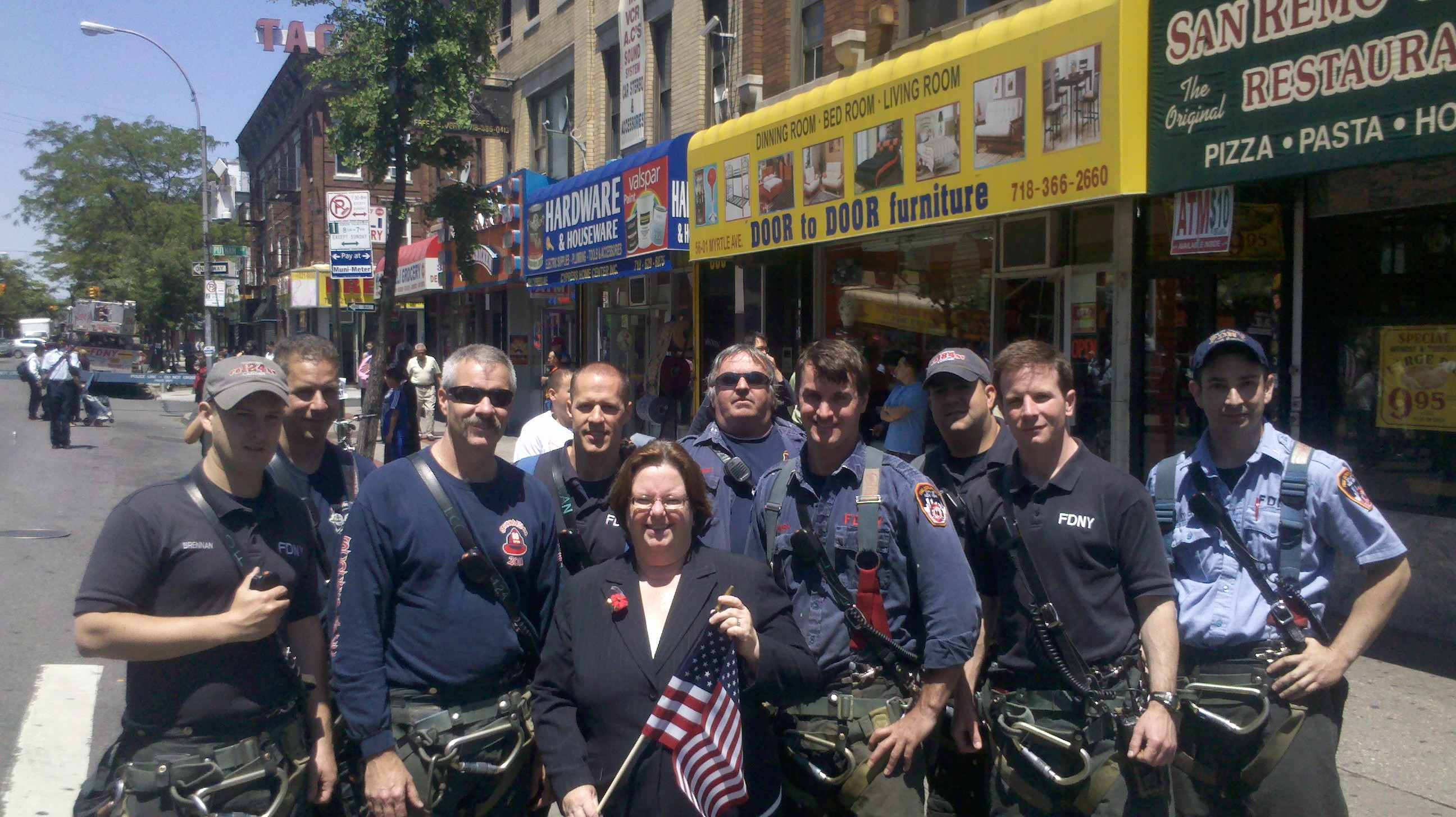 Assemblywoman Nolan marched in the Ridgewood Memorial Day Parade and stopped at her local firehouse to thank these firefighters for their service, many of whom served in the armed services.