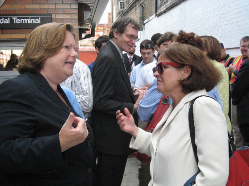 Assemblywoman Nolan talks with Lois Tendler of the MTA at the opening of the new Myrtle Wyckoff inter-modal station.
