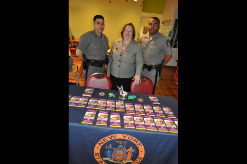 Assemblywoman Nolan with members of the New York State Police at her State Fair in Sunnyside.