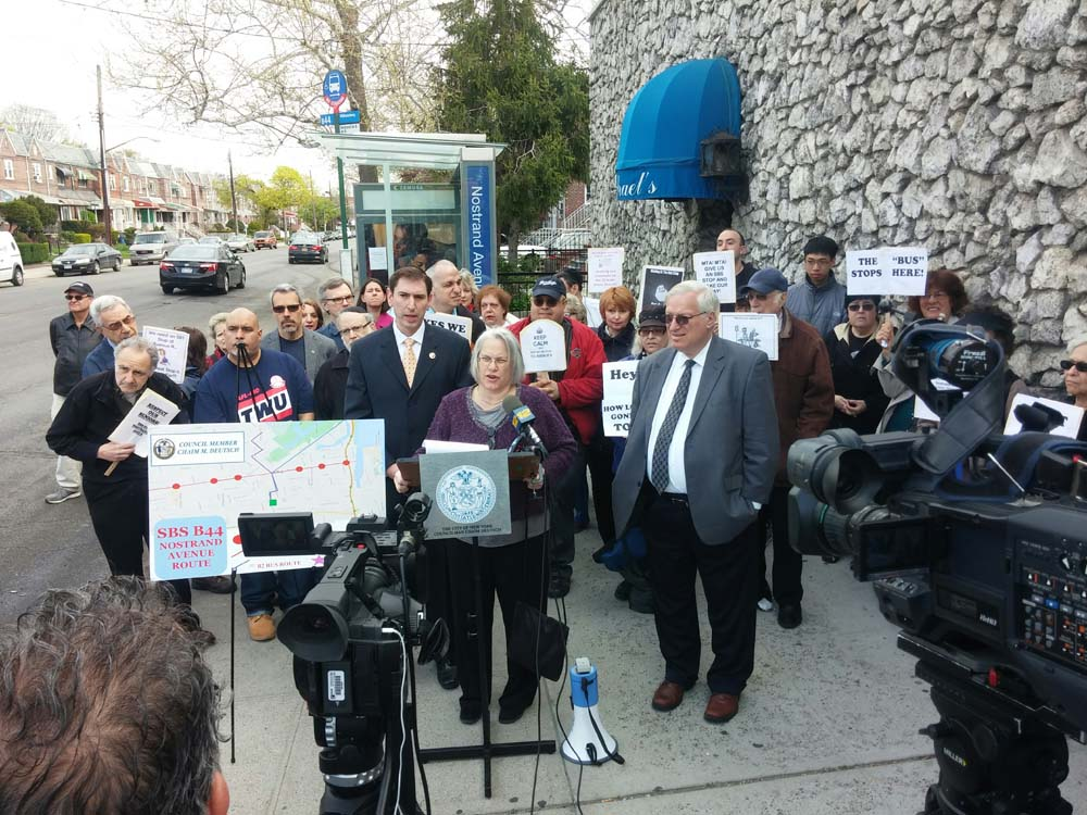 Assemblywoman Weinstein, Councilmembers Chaim Deutsch and Alan Maisel joined commuters in their renewed call for a Select Bus Service Stop on Nostrand Avenue at Avenue R.