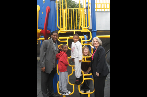 Assemblywoman Helene Weinstein and Councilman-elect Jumaane Williams participated at the recent dedication of a new children�s playground located at PS 208, which is open to all community residents.
