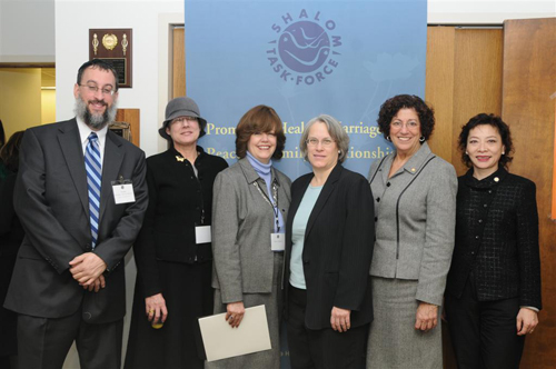 Assemblywoman Weinstein met with the leaders of Shalom Task Force, an agency dealing with domestic violence and abuse prevention, to discuss issues facing families who are victims of domestic violence. The Assemblywoman provides funding for Shalom Task Force�s anonymous abuse support hotline. Pictured with the Assemblywoman are Rabbi Daniel Schonbuch, Executive Director of Shalom Taskforce, organization staff and volunteers, Assemblywoman Audrey Pheffer and Assemblywoman Ellen Young.