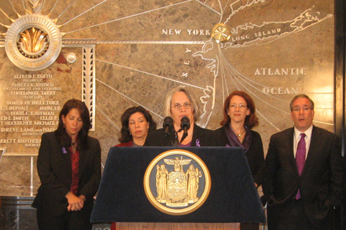 Assemblywoman Helene Weinstein helped launch the �Shine the Light on Domestic Violence� campaign. Assemblywoman Weinstein has long championed rights for victims of domestic violence. They turned the lights atop the Empire State Building purple to symbolize the courage of domestic violence survivors and raise awareness about the prevalence and harm of domestic violence.