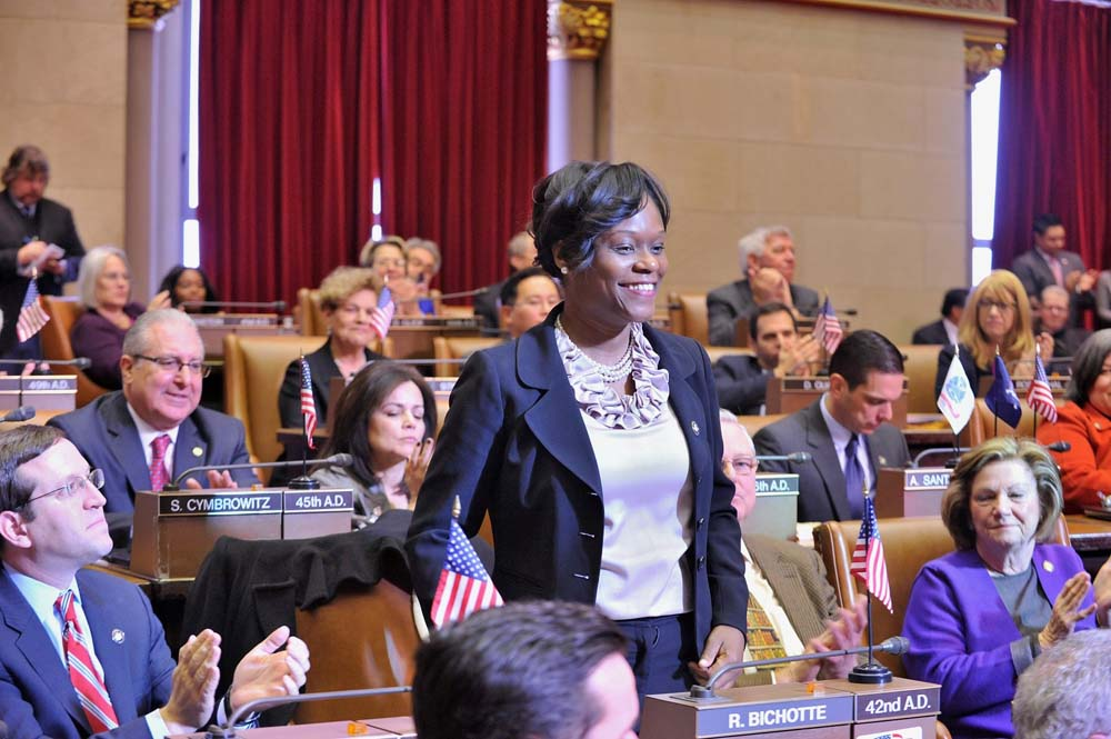 Assemblymember Rodneyse Bichotte is introduced as the 42nd Assembly District�s representative in Assembly Chamber for the first time in January 2015.