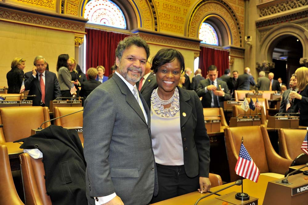 Assemblymember Bichotte poses with fellow Brooklyn Assemblymember Felix Ortiz in Chamber on the first day of the 2015 session.