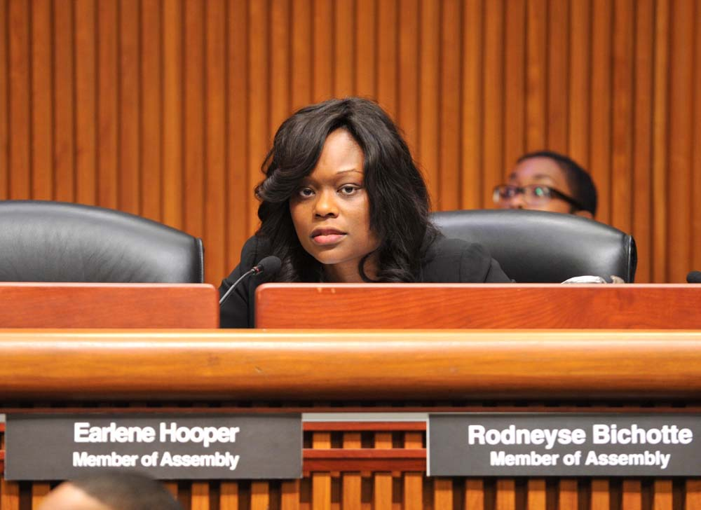 Assemblymember Bichotte poses questions about affordable housing while taking part in a public hearing on public housing.
