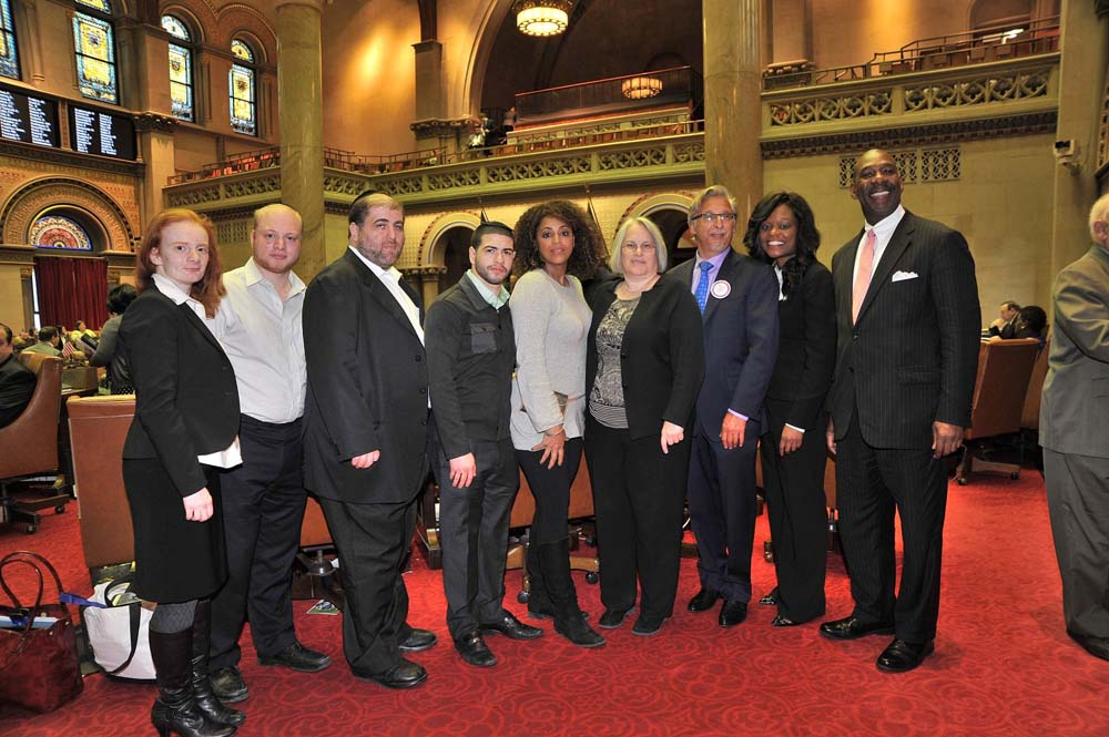 Assemblymember Bichotte meets in Chamber with supporters of A-177, which would eliminate statute of limitations in criminal and civil actions and revives civil actions for certain sex offense committed against a child less than 18 years of age.