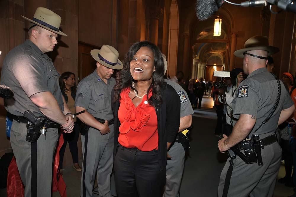 Assemblymember Bichotte is one of dozens of assemblymembers, activists and protestors arrested and led out of the State Capitol for taking part in a civil disobedience rally that called for stronger rent laws in New York City.