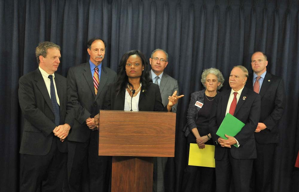 Assemblymember Bichotte, joined by other legislators, speaks at a press conference to protest Gov. Cuomo�s plan to raise the number of charter schools in New York State.